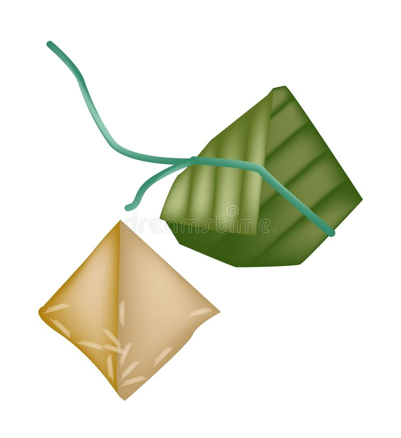 Rice Dumpling or Zongzi in Bamboo Leaf. An Illustration of Asian Chinese Rice Dumplings or Zongzi Wrapped with Bamboo Leaf for Pay Respect to God in Chinese New royalty free illustration