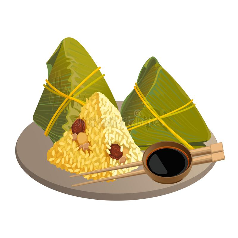 Rice dumplings, zongzi asian food isolated on white. Zongzi wrapped in bamboo leaves or rice dumplings on plate with soy sauce and chopsticks vector isolated royalty free illustration