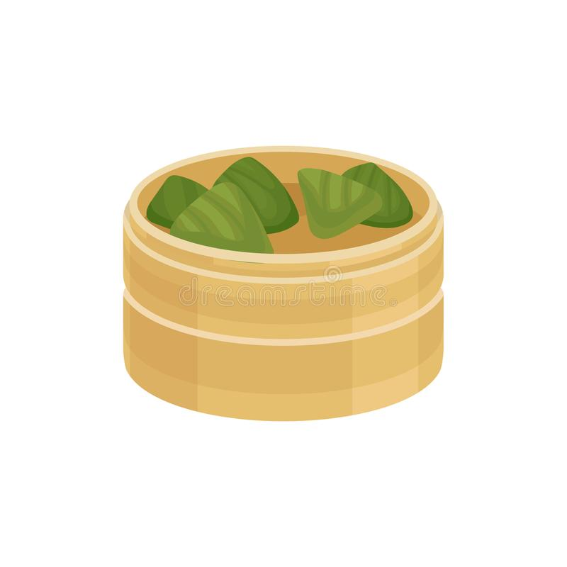 Rice dumplings zongzi in wooden container. Colorful flat vector icon isolated on white background. Rice dumplings zongzi in wooden container. Traditional dish of vector illustration
