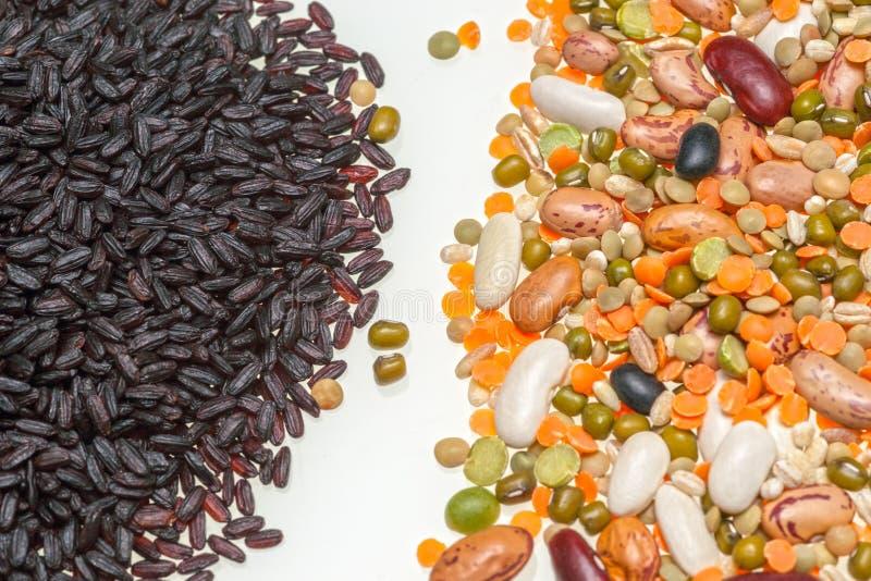 Rice, fasole i soczewicy odizolowywający na białym tle, fotografia royalty free