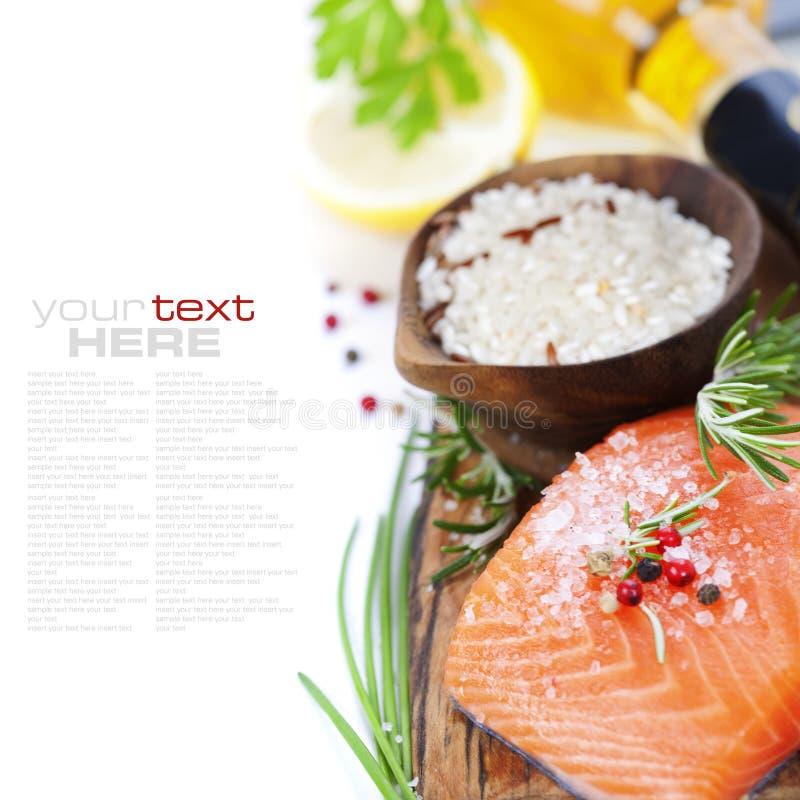 Rice, fish and white wine royalty free stock photo