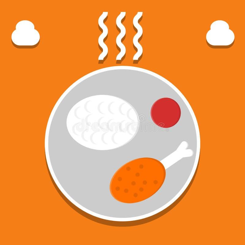 Rice, fried chicken, sauce illustration - vector royalty free illustration