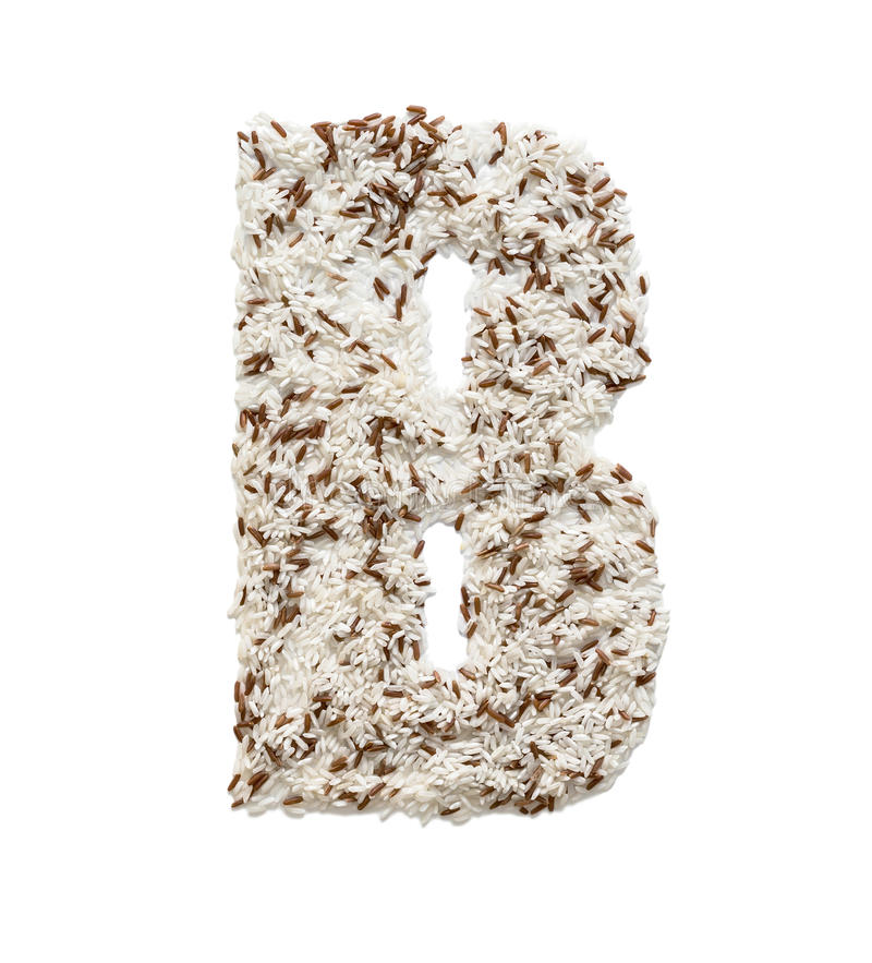 Rice grain forming an alphabet letter B. Different kinds of rice, grain lying and creating an alphabet letter B, different colors stock photos