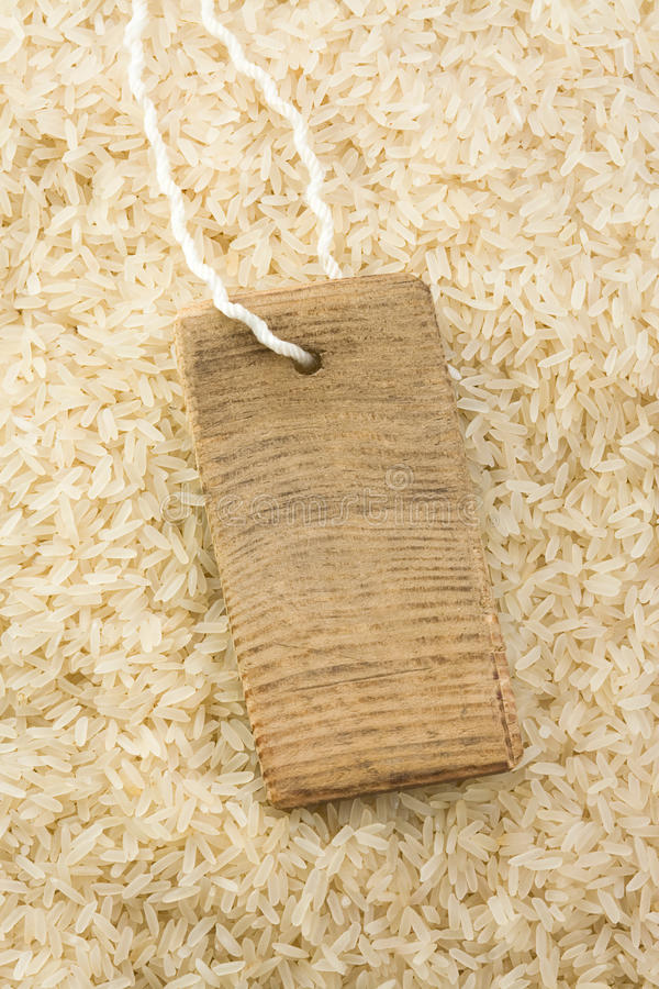 Rice grain and price tag stock photo