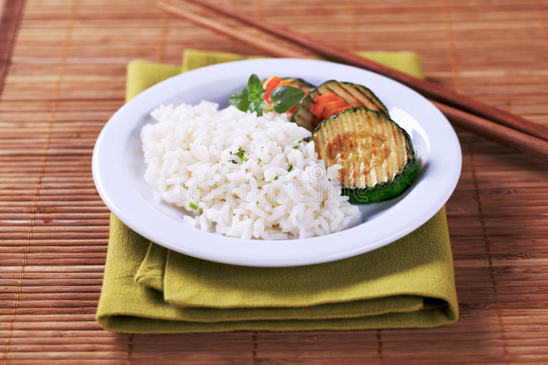 Rice and grilled zucchini stock photography