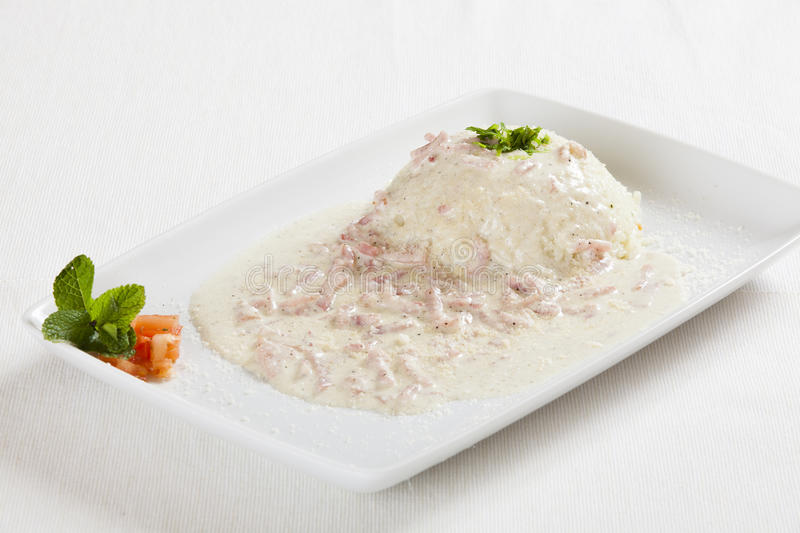 Rice with ham stock photography