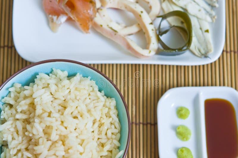 Rice i owoce morza fotografia royalty free