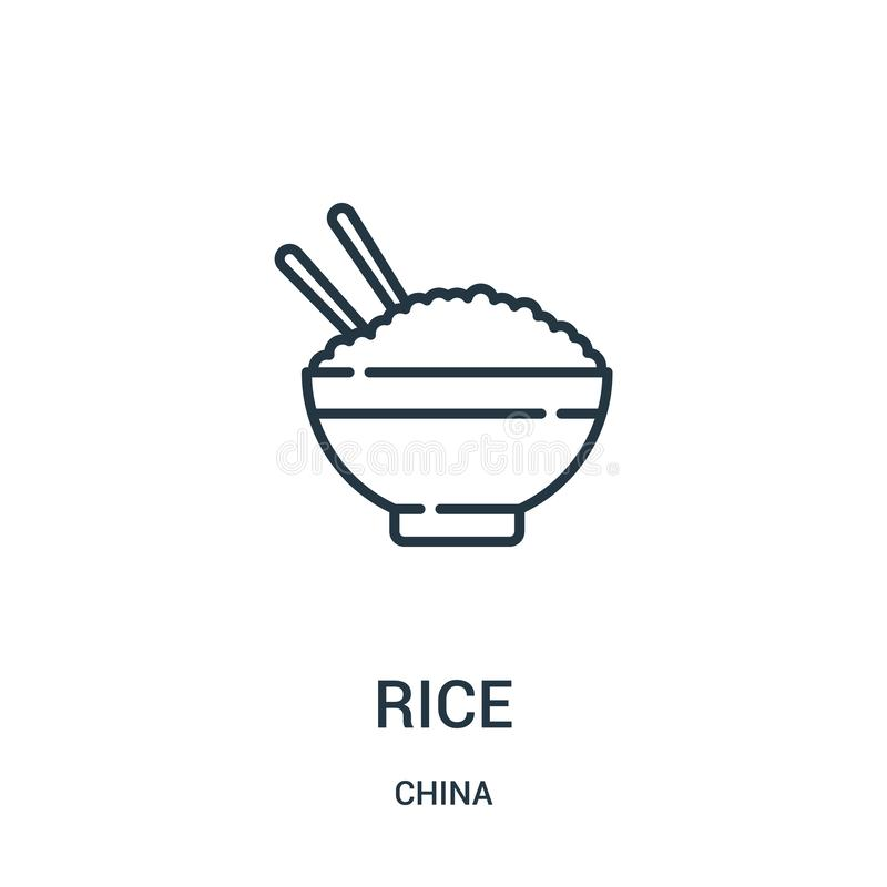 Rice icon vector from china collection. Thin line rice outline icon vector illustration. Linear symbol for use on web and mobile. Apps, logo, print media royalty free illustration