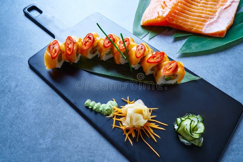 Rice Maki Sushi with salmon chili asparagus royalty free stock photos