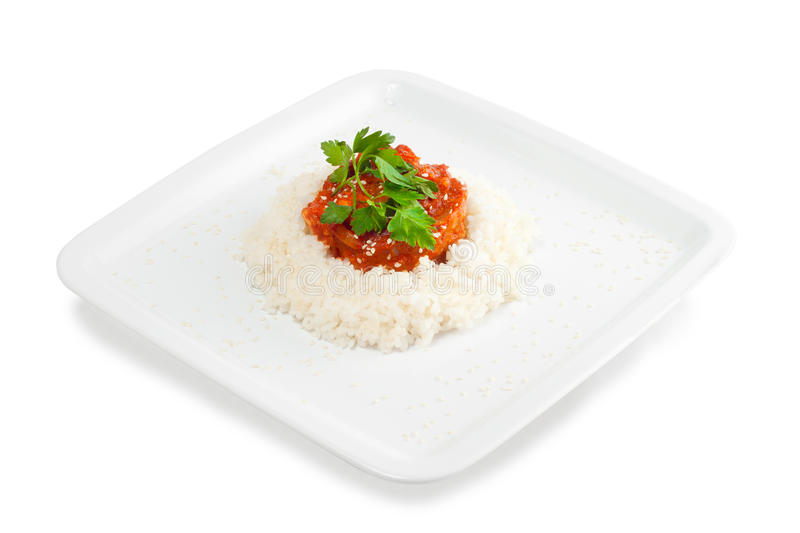 Rice With Meat And Vegetables With Tomato Sauce Stock Photography