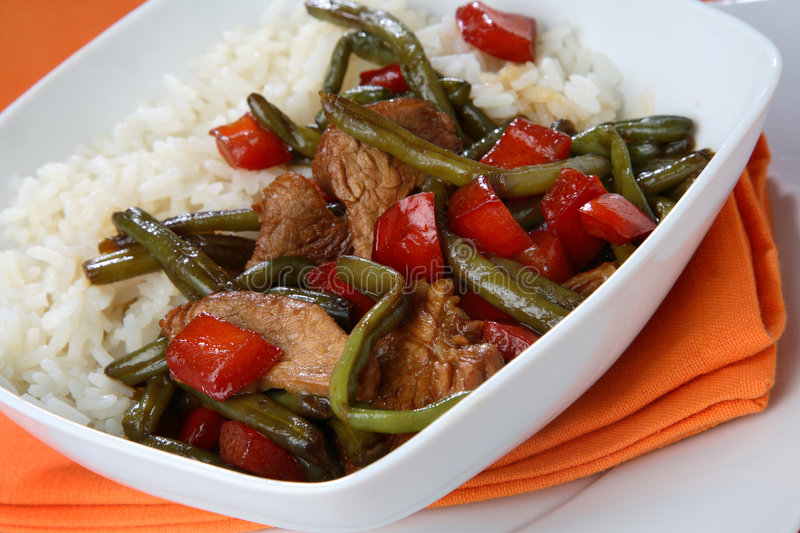 Rice with mixed vegetables stock images