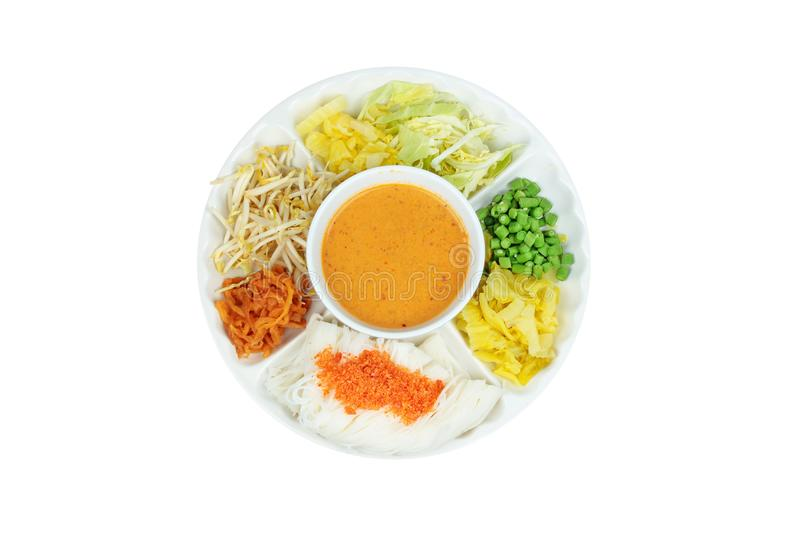 Rice noodle topped minced dried shrimp served with fish curry in royalty free stock photos