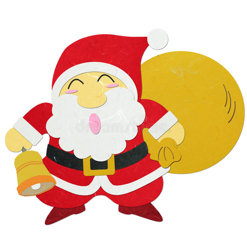 Rice paper cut Santa Claus carrying sack royalty free stock photos