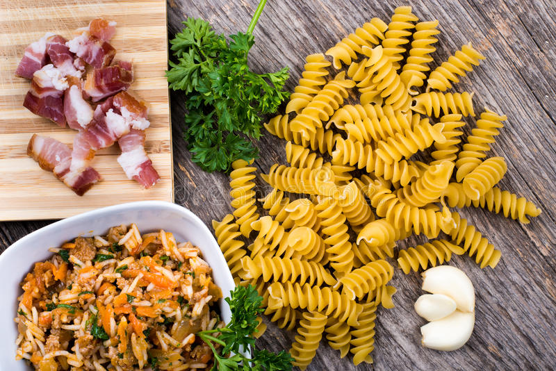 Download Rice, pasta, smoked ham stock image. Image of nobody - 83701435