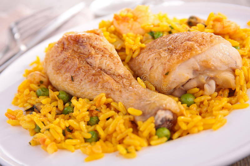 Rice with pea and chicken royalty free stock photos