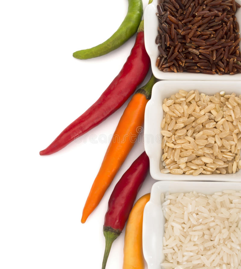 Rice with peppers stock photo