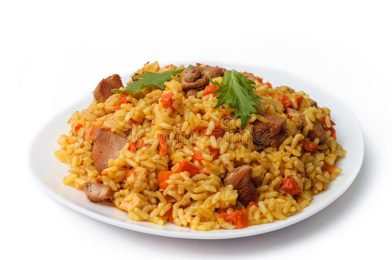 rice pilaf with meat carrot and onion isolated on white background. stock images