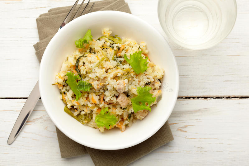 Rice With Pork, Carrots And Spinach Stock Photography
