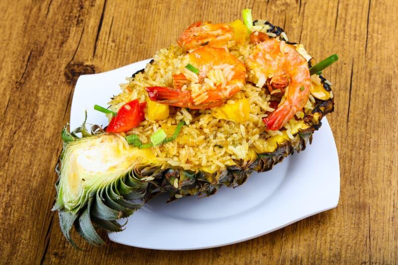 Rice with prawn stock image