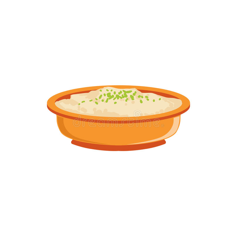 Rice Pudding In Bowl Supplemental Baby Food Products Allowed For First Complementary Feeding Of Small Child Cartoon. Illustration. Colorful Flat Vector Drawing royalty free illustration