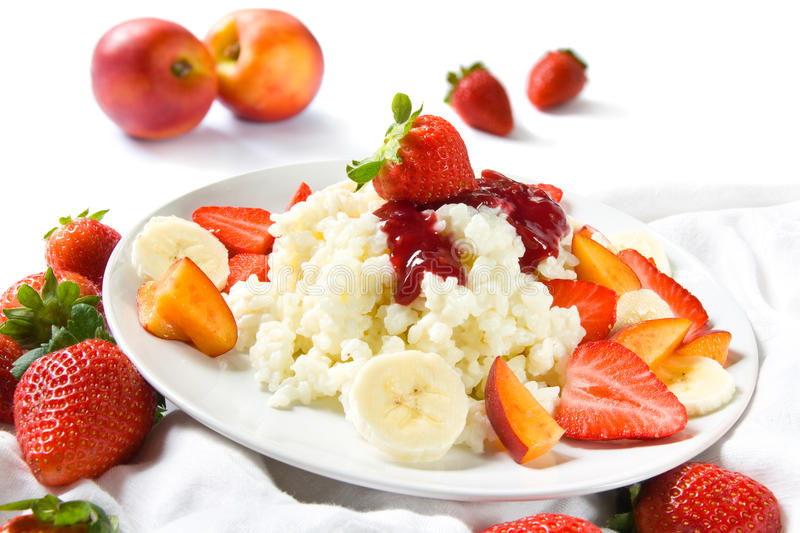 Rice pudding with fruits stock photography