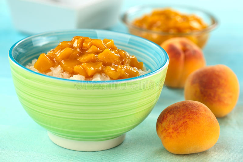 Rice Pudding with Peach Compote stock photo