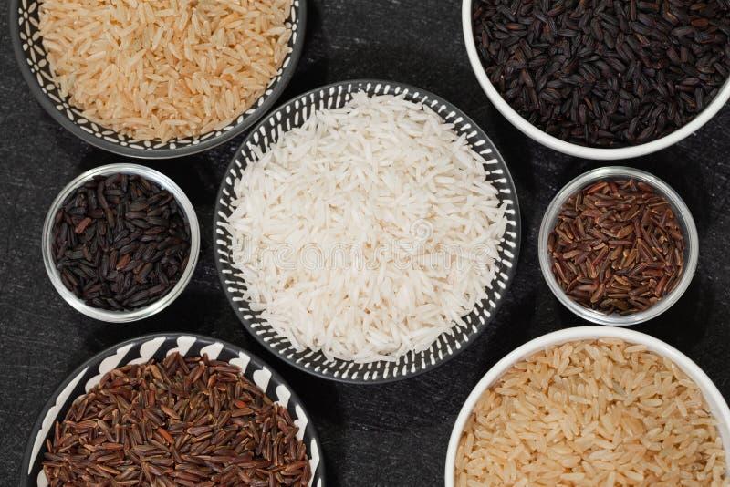 Rice, różne rozmaitość surowi ryż obraz royalty free