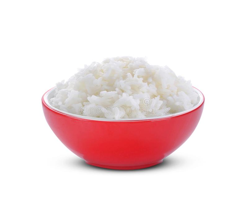 Rice in red bowl on white background royalty free stock photography