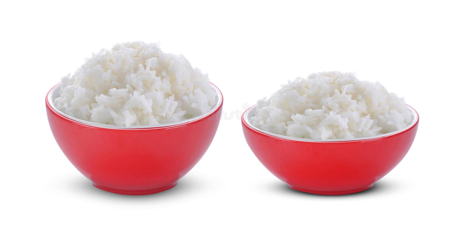 Rice in red bowl on white background stock photos
