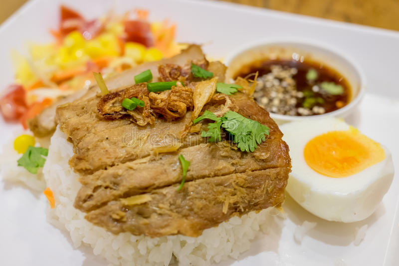 Rice with roast pork stock photography