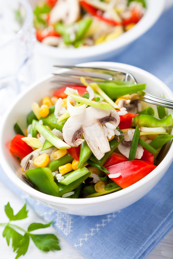 Rice salad with mushrooms and vegetables royalty free stock photos