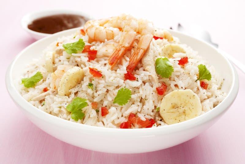 Rice Salad with Prawn or Shrimp and Banana stock photos