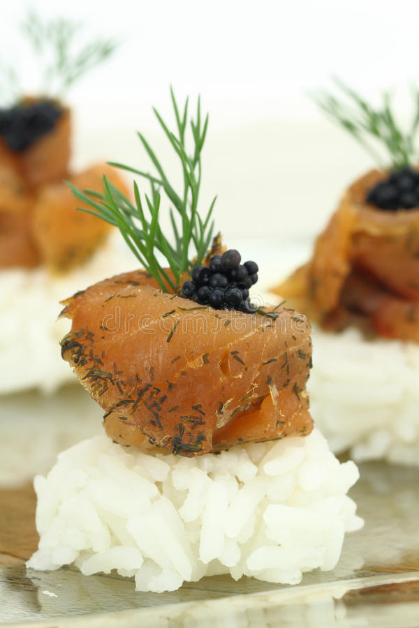 Rice with salmon royalty free stock images