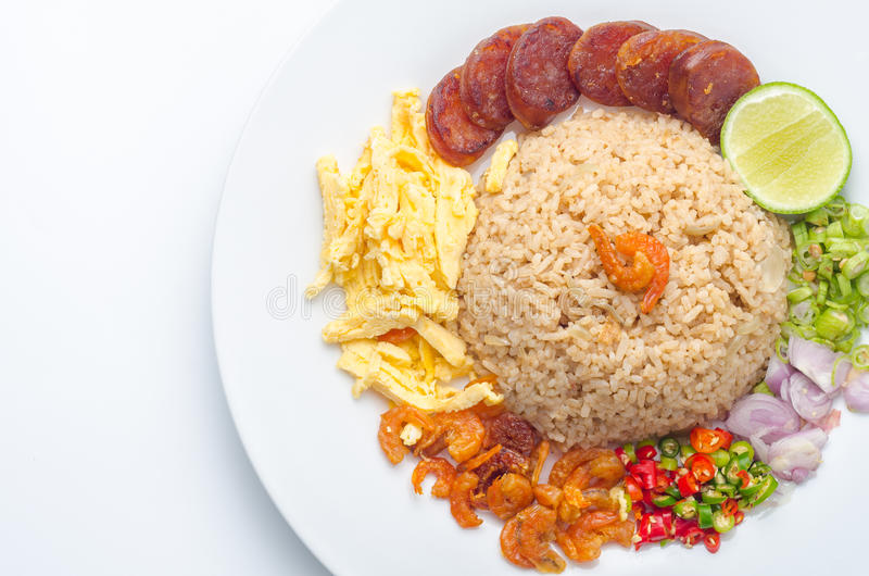 Rice Seasoned with Shrimp Paste, Thai food, Thai cuisine on whit stock photos