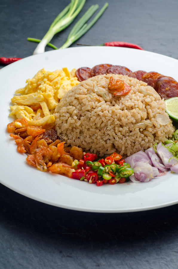 Rice Seasoned with Shrimp Paste, Thai food on white dish over da stock photos