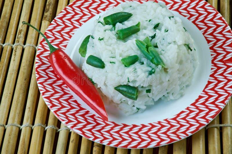 Rice Smażył Z Zielonym currym zdjęcie royalty free