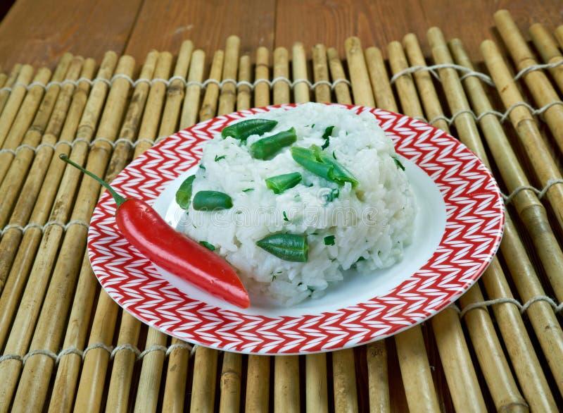 Rice Smażył Z Zielonym currym zdjęcia stock