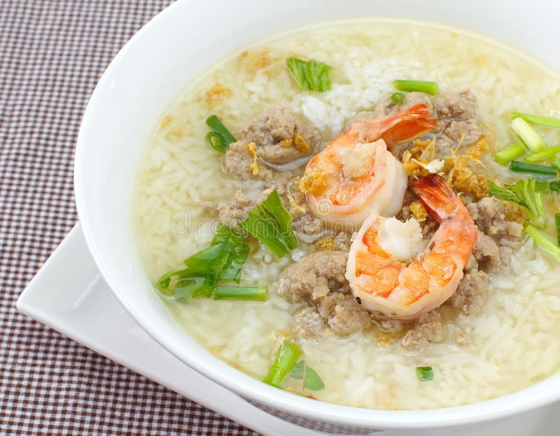Rice soup with shrimp. Asian breakfast Rice soup with shrimp stock photo
