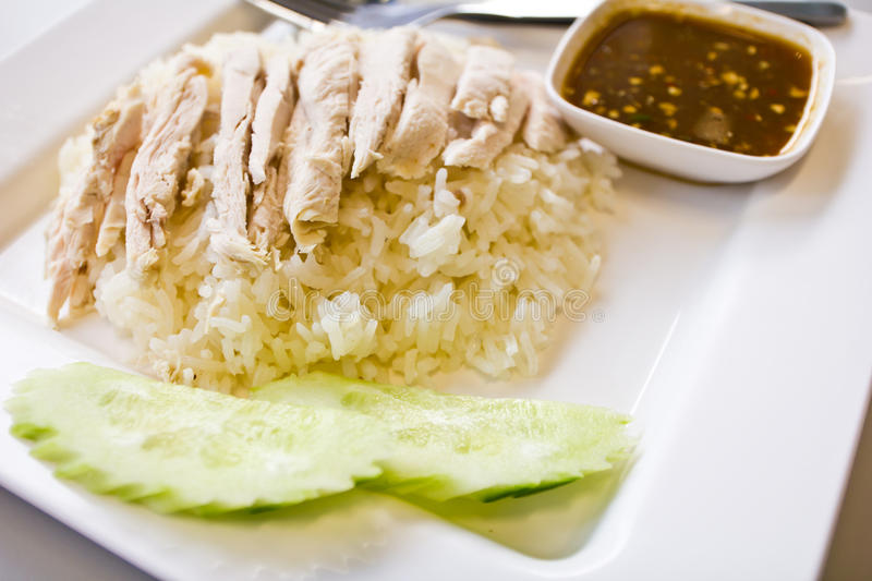 Rice steamed with chicken royalty free stock photos