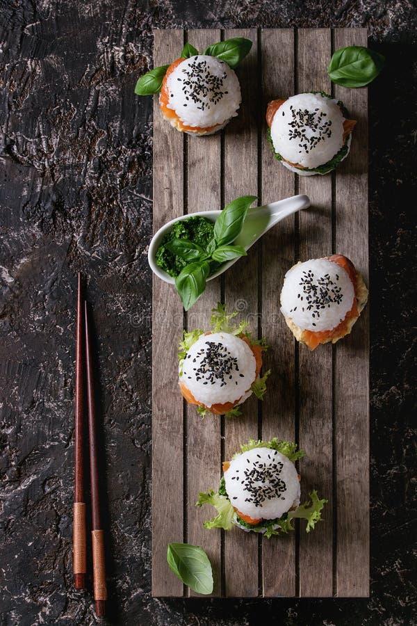 Rice sushi burgers royalty free stock images