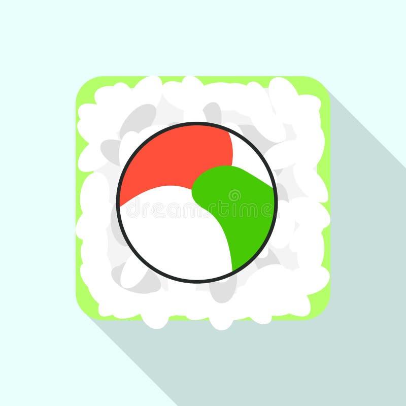 Rice sushi icon, flat style vector illustration