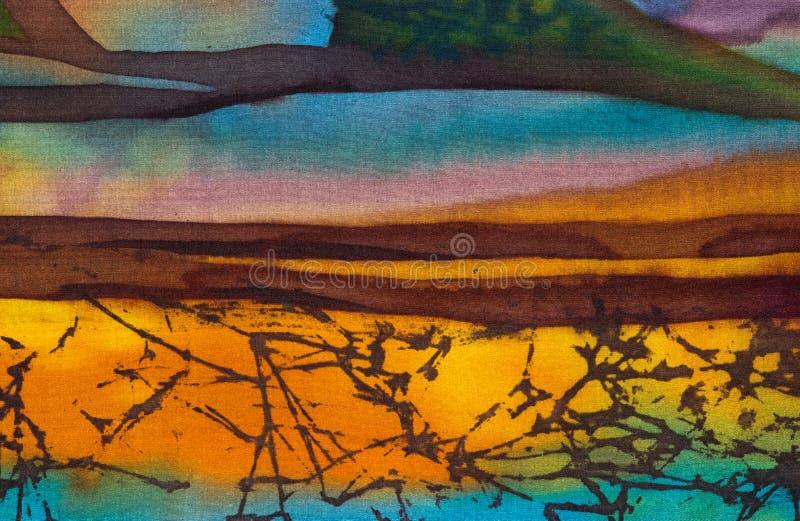 Rice tarasy, czerep, gorący batik, handmade abstrakcjonistyczna nadrealizm sztuka na jedwabiu ilustracja wektor