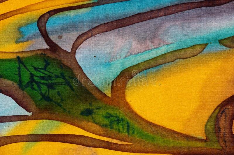 Rice tarasy, czerep, gorący batik, handmade abstrakcjonistyczna nadrealizm sztuka na jedwabiu ilustracji