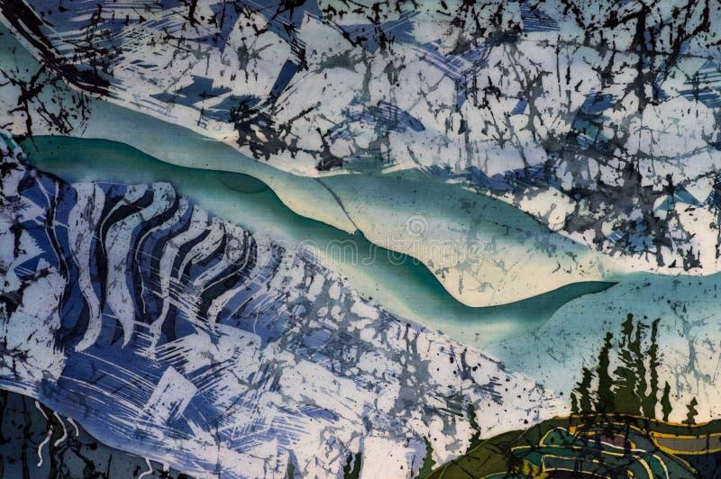 Rice tarasy, krajobraz z górami, czerep, gorący batik, handmade sztuka na jedwabiu ilustracja wektor