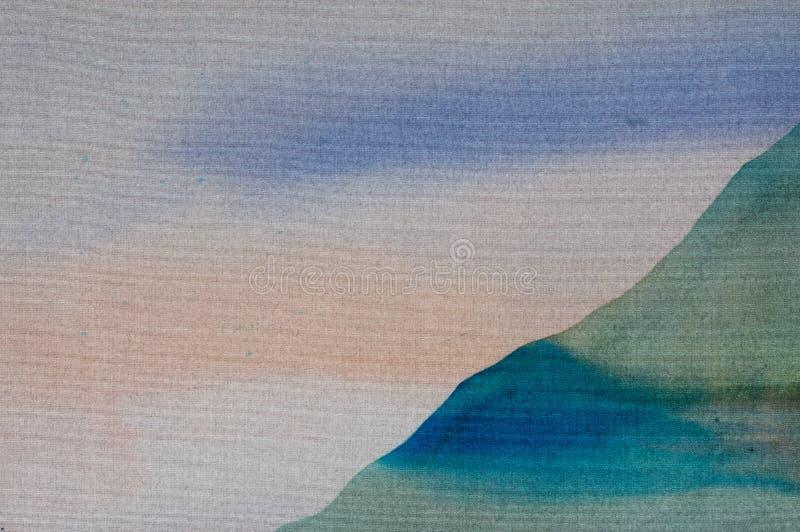 Rice tarasy, krajobraz z górami, czerep, gorący batik, handmade sztuka na jedwabiu ilustracji