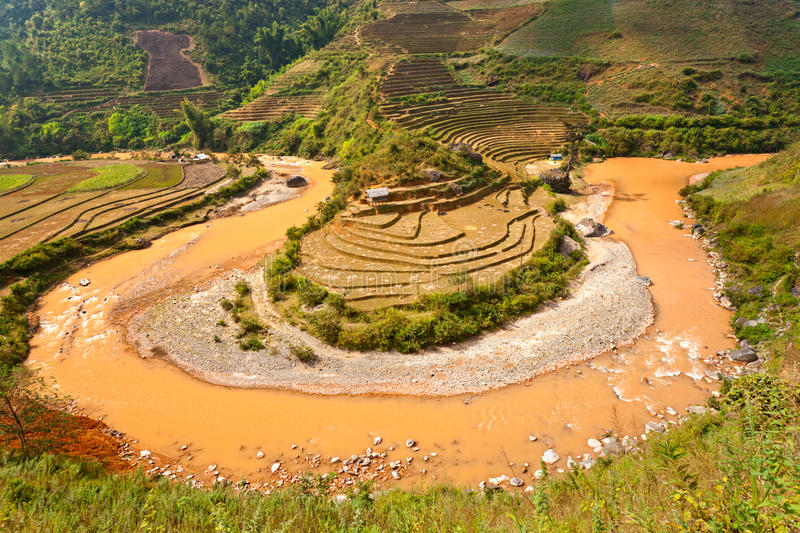 Rice terrace field and river in North Vietnam. stock photography