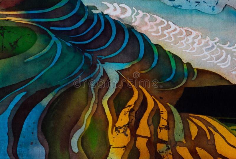 Rice terraces, fragment, hot batik, handmade abstract surrealism art on silk. Background texture stock photography