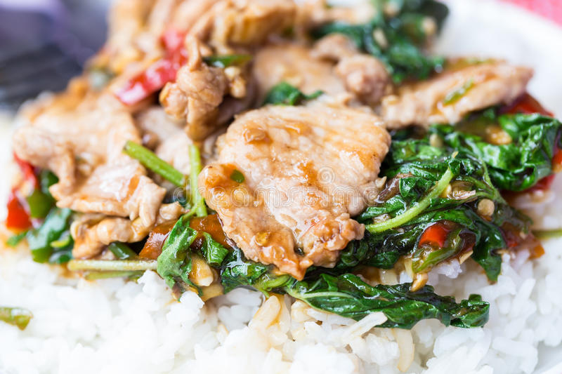 Rice topped with stir-fried pork and basil. Thai food stock photo