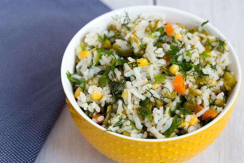 Rice and vegetable salad royalty free stock photos