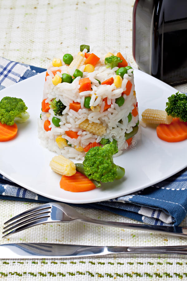 Rice and vegetables royalty free stock photos